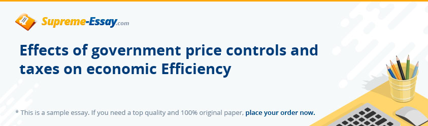 Effects of government price controls and taxes on economic Efficiency