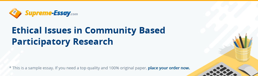 Ethical Issues in Community Based Participatory Research