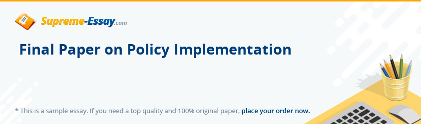 Final Paper on Policy Implementation