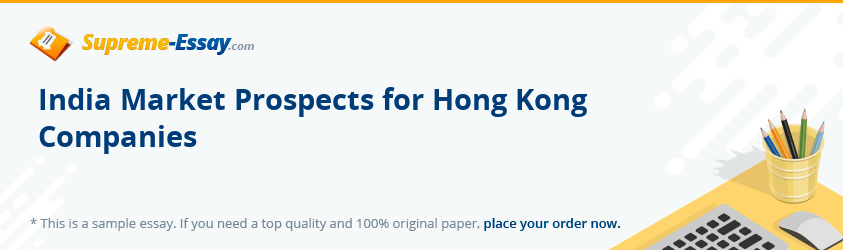 India Market Prospects for Hong Kong Companies