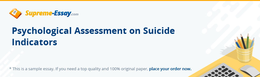 Psychological Assessment on Suicide Indicators