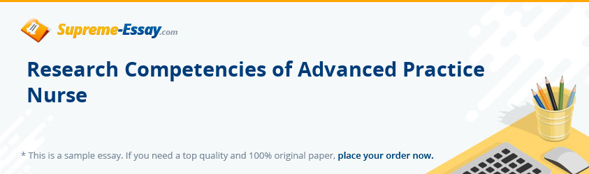 Research Competencies of Advanced Practice Nurse