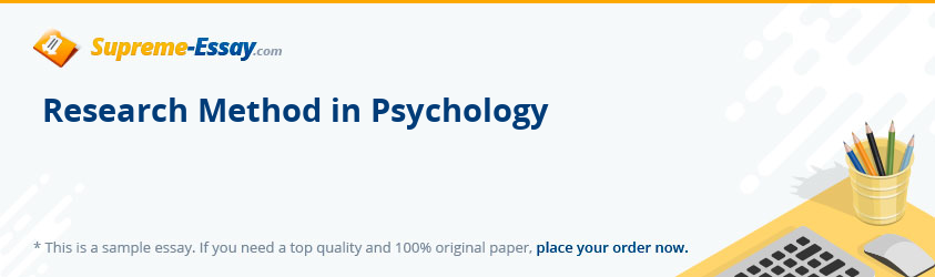Research Method in Psychology