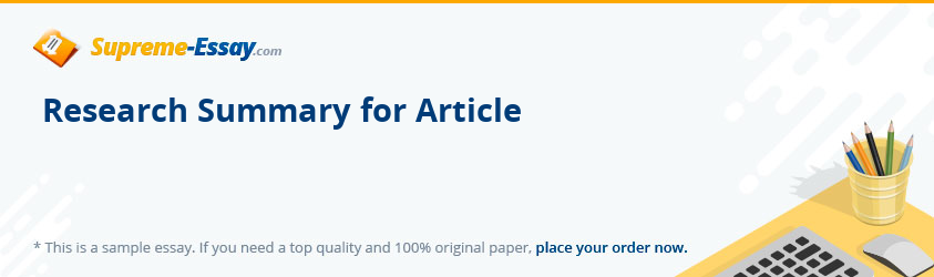 Research Summary for Article