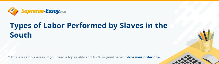 Types of Labor Performed by Slaves in the South